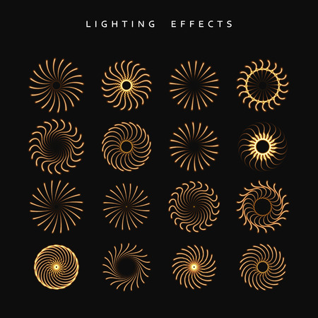 zapping: Set of lighting isolated effect. fireworks isolated. Round lighting effects. Magic, bright, brilliant patches of light. Effect for background and design. Light patches of light. Set of effects.