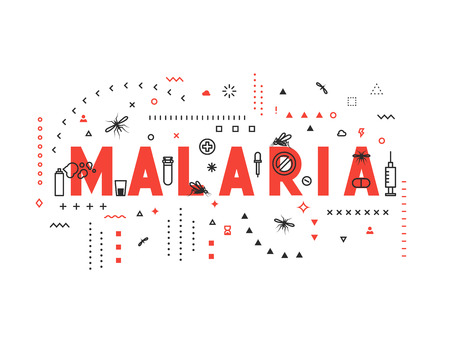 mobile website: Design concept epidemic of malaria. Modern line style illustration. Concepts of words malaria, style thin line art, design banners for website and mobile website. Easy to edit. Illustration