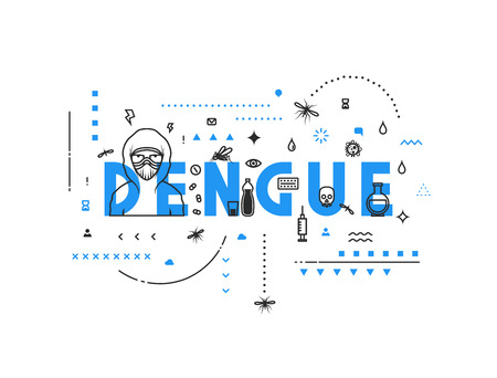Design concept virus of dengue. Modern line style illustration. Concepts of words dengue, style thin line art, design banners for website and mobile website. Easy to edit. Illustration