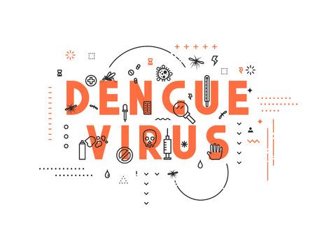 dengue: Design concept virus of dengue. Modern line style illustration. Concepts of words dengue virus, style thin line art, design banners for website and mobile website. Easy to edit.