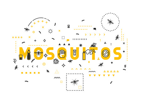 mosquitos: Design concept mosquitos. Modern line style illustration. Concepts of words mosquitos, style thin line art, design banners for website and mobile website. Easy to edit.