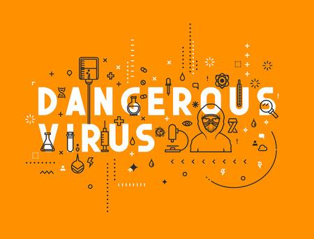 website words: Design concept dangerous virus. Modern line style illustration. Concepts of words dangerous virus, style thin line art, design banners for website and mobile website. Easy to edit. Illustration