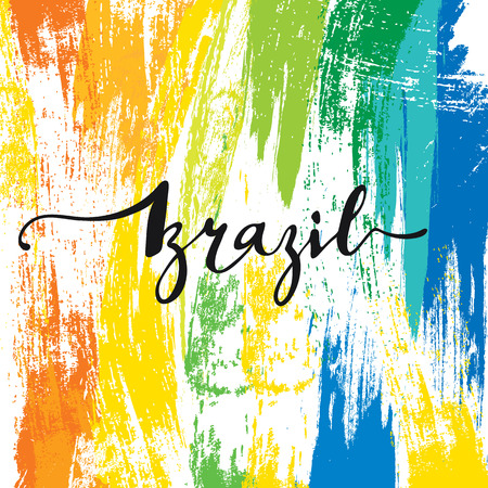 brazilian flag: Inscription Brazil, background colors of the Brazilian flag. Calligraphy handmade greeting cards , posters phrase Brazil. Background watercolor brush , Brazil carnival