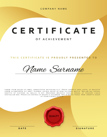 sealing wax: Template certificate design in gold color. Award certificate in flat style. Diploma frame awarding, with red sealing wax. Border background certificate. Premium certificate template
