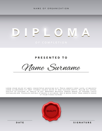 sealing: Template certificate design in silver color. Award certificate in a flat style. Diploma frame awarding, with red sealing wax. Border background certificate. Premium certificate template