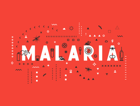 malaria: Design concept epidemic of malaria. Modern line style illustration. Concepts of words malaria, style thin line art, design banners for website and mobile website. Easy to edit. Illustration