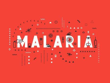 Le concept du design épidémie de paludisme. Moderne illustration de style de ligne. Concepts de mots paludisme, mince ligne de style art, des bannières de conception pour le site Web et le site Web mobile. Facile à modifier.