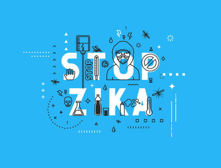 aedes: Design concept epidemic of stop zika virus. Modern line style illustration. Concepts of words stop zika virus, style thin line art, design banners for website and mobile website. Easy to edit.