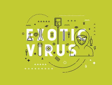 website words: Design concept exotic virus. Modern line style illustration. Concepts of words exotic virus, style thin line art, design banners for website and mobile website. Easy to edit.