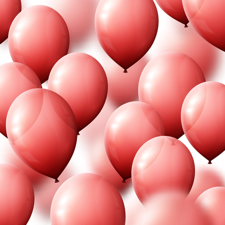 red balloons: Background with balloons for greeting cards. Realistic balloons red Illustration
