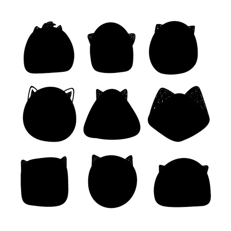 insertion: Cats silhouette. Doodle silhouettes of cats. Muzzle cats. Silhouette of a template for the design and insertion of calligraphic text
