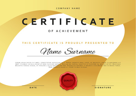 Template certificate design in gold color award certificate award certificate in flat style diploma frame awarding with red sealing wax border background certificate premium certificate template yadclub Images