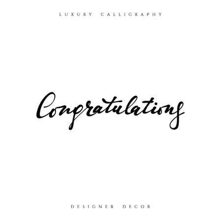 Felicidades inscripción caligráfica. Felicitación del diseño de la decoración tarjetas Enhorabuena frase.