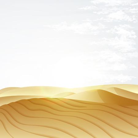 Desert landscape with blue sky. Dunes background. Landscape nature sand desert with dunes