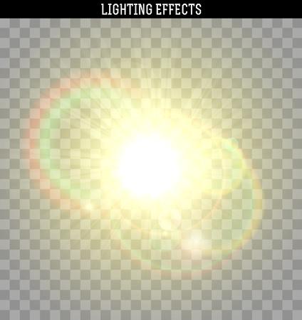 Sun reflets jaune effet lumineux. Objet réaliste isolé avec transparent. Vector illustration.