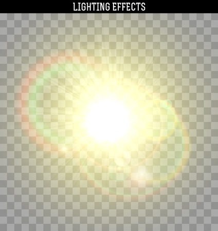 glare: Sun yellow glare light effect. Object realistic isolated with transparent. Vector illustration.