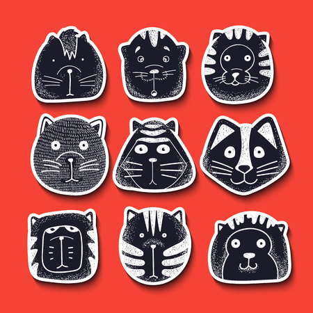 whisker characters: Set of cute doodle cats. Character sketch cat. Cats in style of retro engraving vector. Kids doodle animals. Stylish muzzle cats. Isolated cat. Emotions for design. Cats doodle illustration vector