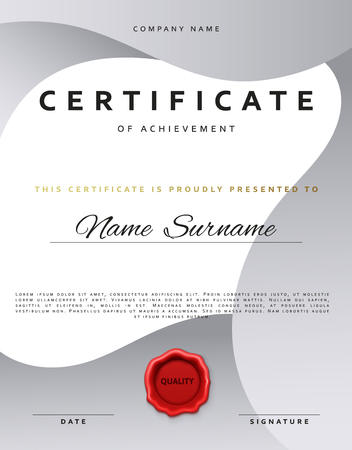Template Certificate Design In Silver Color Award Certificate