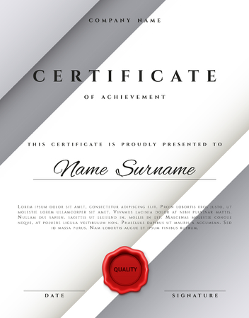 sealing wax: Template certificate design in silver color. Award certificate in a flat style. Diploma frame awarding, with red sealing wax. Border background certificate. Premium certificate template