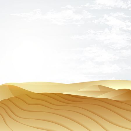 Desert landscape with blue sky. Dunes background. Landscape nature sand desert with dunes Vektorové ilustrace