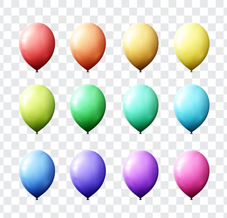 transparency color: Set realistic color air balloons isolated with transparent. Set of balloons for design of festive cards. Realistic balls with transparency for decor. Festive scenery