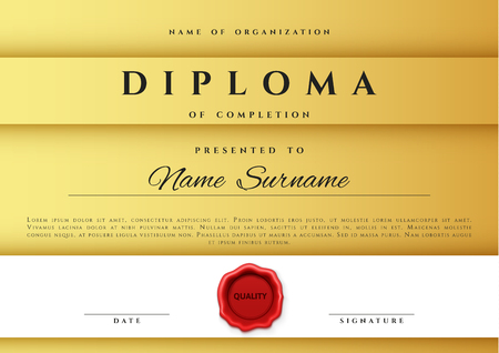 gift pattern: Template certificate design in gold color. Award certificate in flat style. Diploma frame awarding, with red sealing wax. Border background certificate. Premium certificate template