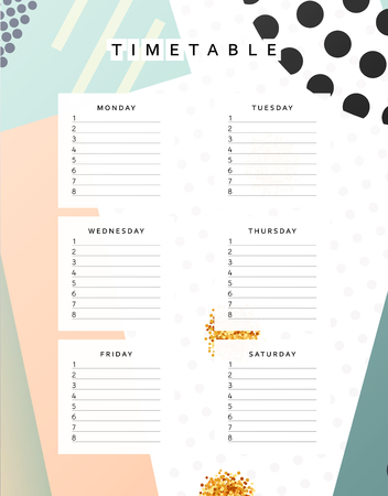 school schedule: Planner calendar. Schedule the week, abstract design background. Template info organizer. Blank schedule school. Layout sheet planning Illustration