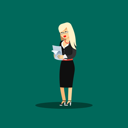 aspirations: Business woman in black costume vector illustration. Office staff, isolated characters girl happy face, people success, in hands paper. Business concept in flat. Educational aspirations of man