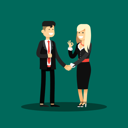 office staff: Business woman and man of transaction, in black costume vector illustration. Office staff, isolated characters girl happy face, people success, manager and employee. Business concept in flat. Illustration