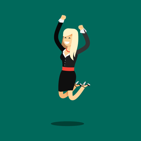 bounces: Business woman in black costume vector illustration. Office staff, isolated characters girl happy face, people success, bounces up. Business concept in flat. Educational aspirations of man.