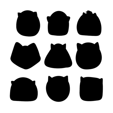 insertion: Doodle silhouettes of cats. Muzzle template for the design and insertion of calligraphic text
