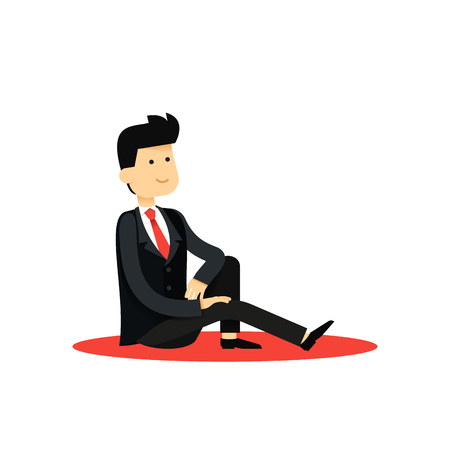 office staff: Character isolated business man, in black costume vector illustration. Office staff, boy happy face, people success, manager and employee. Business concept in flat. Illustration