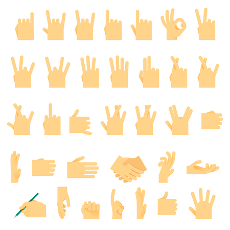 hand sign: Icons and symbols, hands wrist, gestures signals signs vector illustration.