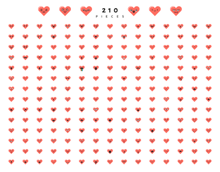 smily: Big set 210 emotions red hearts isolated on white background. Emoji for Web. Smile characters cute