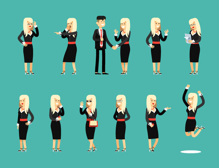 business costume: Characters set isolated business woman and man, in black costume vector illustration. Office staff, girl happy face, people success, manager and employee. Business concept in flat. Illustration