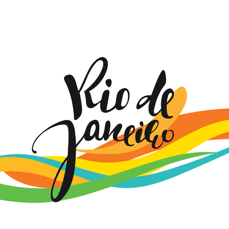 janeiro: Rio de Janeiro inscription, background colors of the Brazilian flag. Calligraphy handmade greeting cards , posters phrase Rio de Janeiro. Background watercolor brush , Brazil carnival Illustration