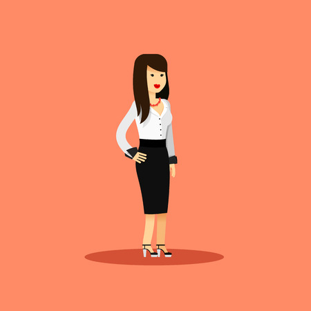 aspirations: Business woman in black white costume vector illustration. Office staff, isolated character girl happy face, people success, manager and employee. Business concept in flat. Educational aspirations man