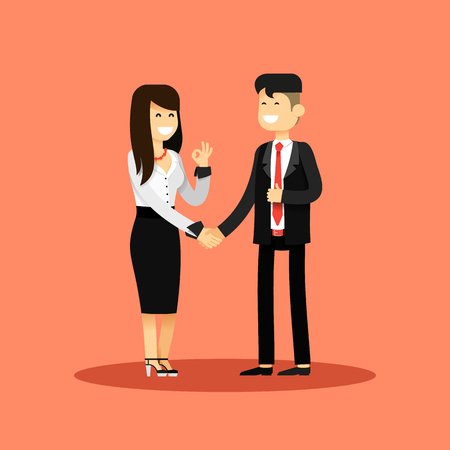 happy employee: Business woman and man of transaction, in black white costume vector illustration. Office staff, isolated characters girl happy face, people success, manager and employee. Business concept in flat.