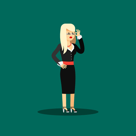 office staff: Business woman in black costume vector illustration. Office staff, isolated characters girl happy face, people success, manager and employee. Business concept in flat. Educational aspirations of man
