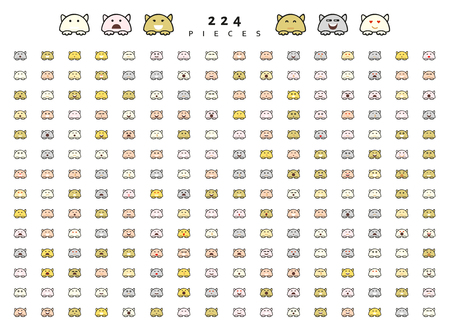 cunning: Big set 224 pieces emotions isolated. Cats cute funny. Web emoji. Anger and compassion. Laughter tears. Sadness and surprise. Happiness and fear. Cunning, cheerful.