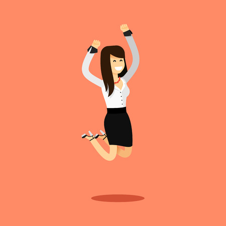 business costume: Business woman in black white costume vector illustration. Office staff, isolated characters girl happy face, people success, bounces up. Business concept in flat. Educational aspirations of man. Illustration