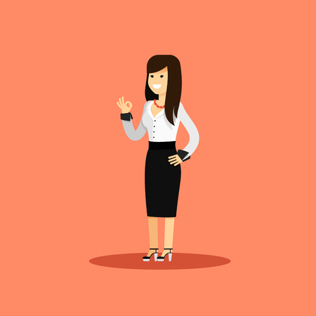 office staff: Business woman in black white costume vector illustration. Office staff, isolated character girl happy face, people success, manager and employee. Business concept in flat. Educational aspirations man