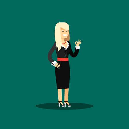 aspirations: Business woman in black costume vector illustration. Office staff, isolated characters girl happy face, people success, manager and employee. Business concept in flat. Educational aspirations of man