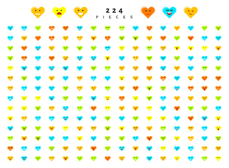 compassion: Great set 224 color emotions isolated on white background. Character emoji for Web. Anger and compassion. Laughter, tears. Smile sadness surprise. Happiness fear. Illustration