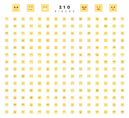 compassion: Great set of 210 color emotion isolated on white. Cute emoji. Anger and compassion. Laughter and tears. Smile and sadness, surprise. Happiness and fear. Emotions for Web development. Illustration
