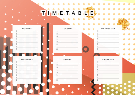 Planner calendar. Schedule the week, abstract design background. Template info organizer. Blank schedule school. Layout sheet planning Illustration
