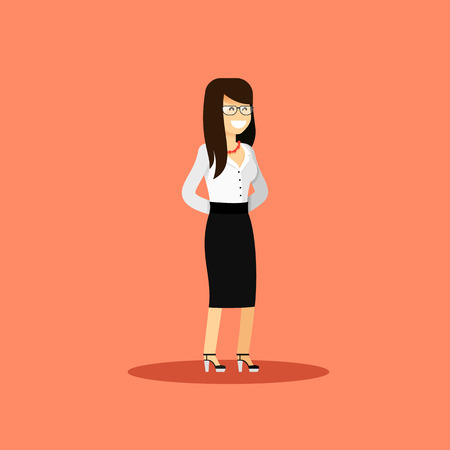 happy employee: Business woman in black white costume vector illustration. Office staff, isolated character girl happy face, people success, manager and employee. Business concept in flat. Educational aspirations man