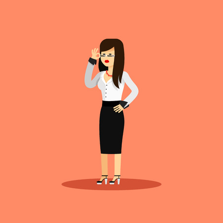 business costume: Business woman in black white costume vector illustration. Office staff, isolated character girl happy face, people success, manager and employee. Business concept in flat. Educational aspirations man