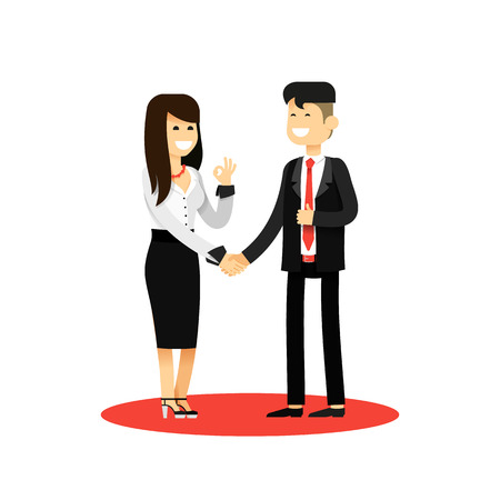 office staff: Business woman and man of transaction, in black white costume vector illustration. Office staff, isolated characters girl happy face, people success, manager and employee. Business concept in flat.