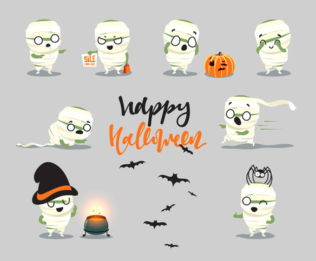 fright: Happy Halloween. Set cute cartoon halloween character costumes, zombie, mummy. Funny doodle characters with hat cooks in the pot. Surprised fright, smile and fear